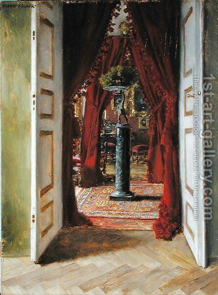 The Red Room by Albert von Keller - Reproduction Oil Painting