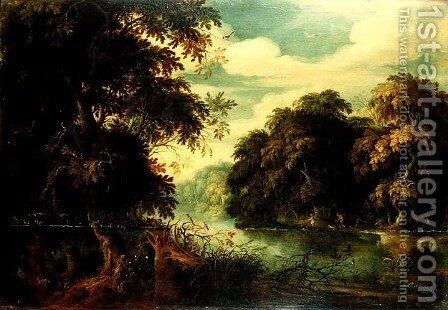 Forest landscape with birdcatchers beside a river by Alexander Keirincx - Reproduction Oil Painting