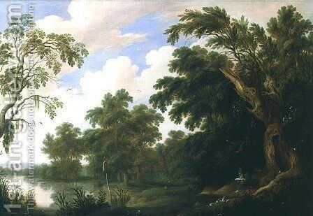 St Paul visiting St Anthony in a wooded landscape by Alexander Keirincx - Reproduction Oil Painting
