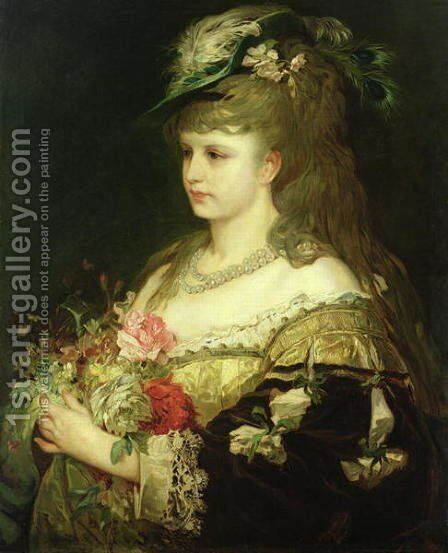 A Young Girl by Hermann Kaulbach - Reproduction Oil Painting