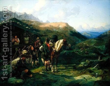 Departure from the Alpine Pasture by Hermann Kauffmann - Reproduction Oil Painting