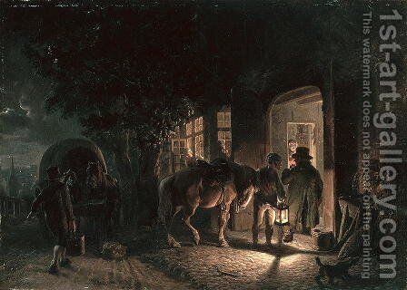 In front of the Pub by Hermann Kauffmann - Reproduction Oil Painting