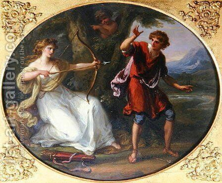 A Nymph drawing her Bow on a Youth by Angelica Kauffmann - Reproduction Oil Painting