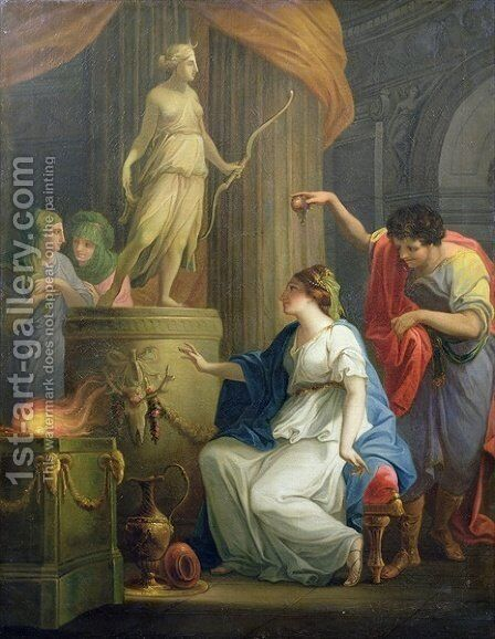 Accontius and Cydippe before the altar of Diana by Angelica Kauffmann - Reproduction Oil Painting
