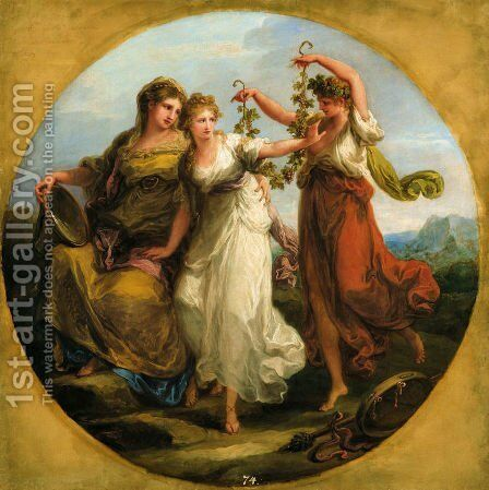 Beauty supported by Prudence Scorns the Offering of Folly by Angelica Kauffmann - Reproduction Oil Painting
