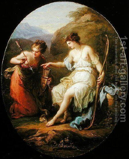 Diana preparing for Hunting by Angelica Kauffmann - Reproduction Oil Painting