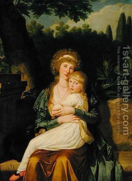 Lady Hervey and her Daughter by Angelica Kauffmann - Reproduction Oil Painting