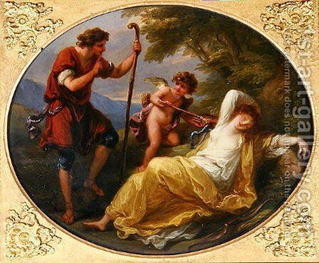 A Sleeping Nymph watched by a shepherd by Angelica Kauffmann - Reproduction Oil Painting