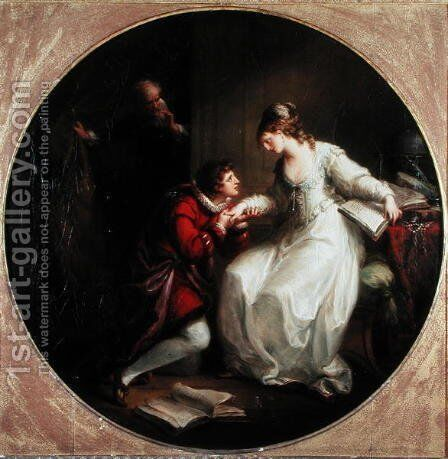 Abelard soliciting the hand of Heloise by Angelica Kauffmann - Reproduction Oil Painting