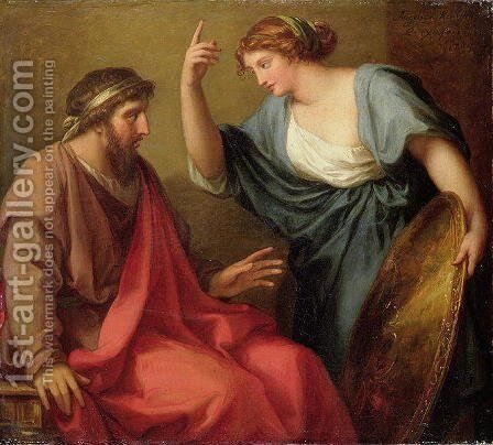 Egeria Handing Numa Pompilius His Shield by Angelica Kauffmann - Reproduction Oil Painting