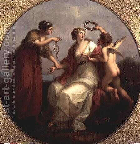Prudence resisting Love by Angelica Kauffmann - Reproduction Oil Painting