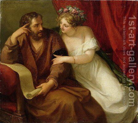 Phryne Seducing the Philosopher Xenokrates by Angelica Kauffmann - Reproduction Oil Painting