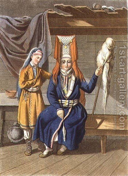 Votyak Women Spinning by E. Karnejeff - Reproduction Oil Painting