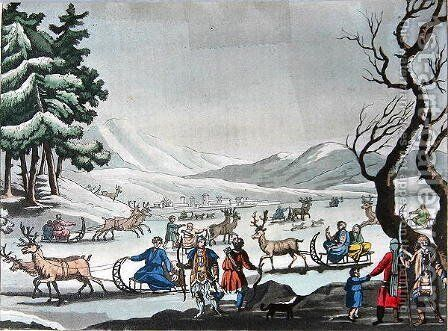 Tungus leaving their winter camp on sleighs pulled by reindeer by E. Karnejeff - Reproduction Oil Painting