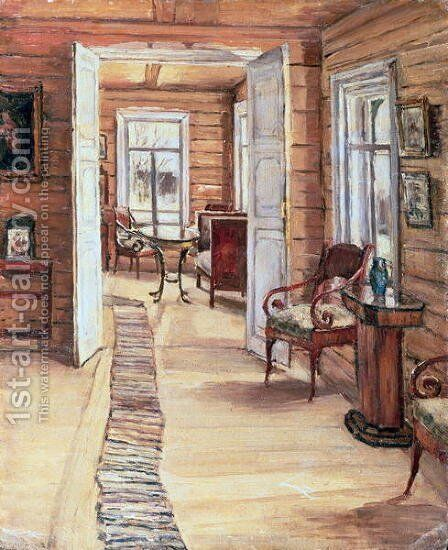 Interior of L Panteleevs house in Murmanov by Anna Nikolaeva Karinskaya - Reproduction Oil Painting