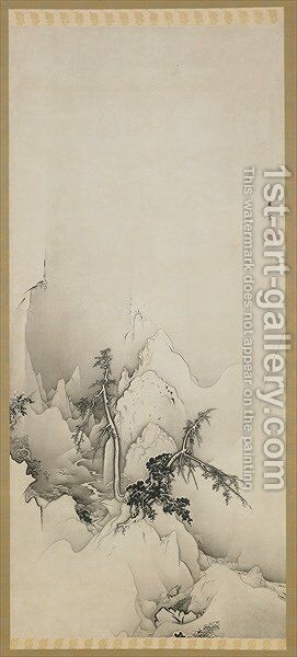 Winter landscape a ravine Edo period by Hogai Kano - Reproduction Oil Painting