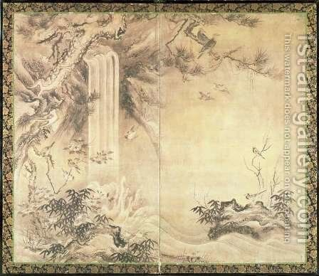 Two Fold Screen depicting Birds and Waterfall by Eitoku Kano - Reproduction Oil Painting