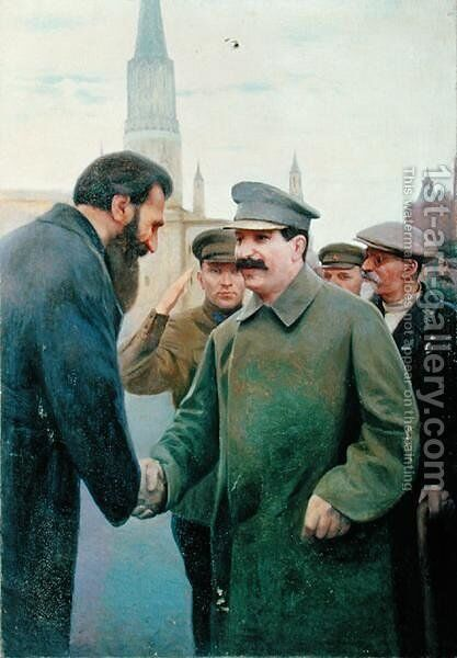 The Meeting of Joseph Stalin 1879-1953 and Otto Schmidt by Jakoff Jakovlevitch Kalinitchenko - Reproduction Oil Painting