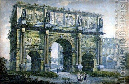 Triumphal Arch of Constantine Rome by Franz Kaisermaan - Reproduction Oil Painting