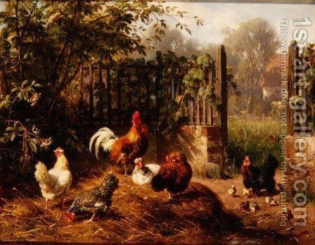 Rooster with Hens and Chicks by Carl Jutz - Reproduction Oil Painting