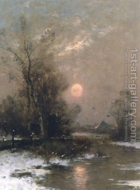 Winter Sunset by Johann II Jungblut - Reproduction Oil Painting