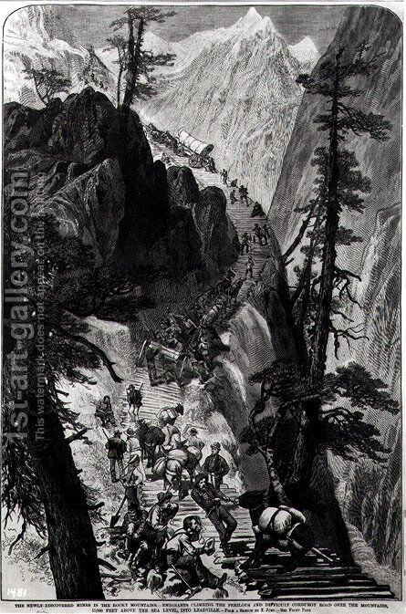Newly Discovered Mines in the Rocky Mountains by (after) Jump, E. - Reproduction Oil Painting