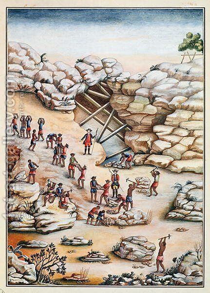 Diamond Mining in Brazil by Carlos Juliao - Reproduction Oil Painting