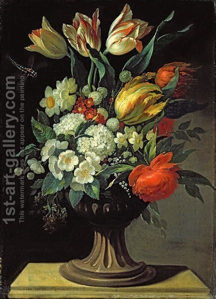 Still Life with Flowers by Jens Juel - Reproduction Oil Painting