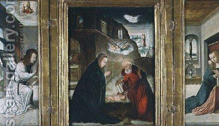 The Birth of Christ Triptych with the Nativity flanked by the Annunciation by Flandes Juan de - Reproduction Oil Painting