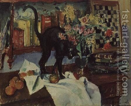 Still Life with a Cat by Jean Jovenau - Reproduction Oil Painting