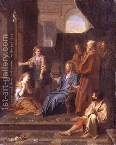 Christ in the House of Martha and Mary by Jean-baptiste Jouvenet - Reproduction Oil Painting