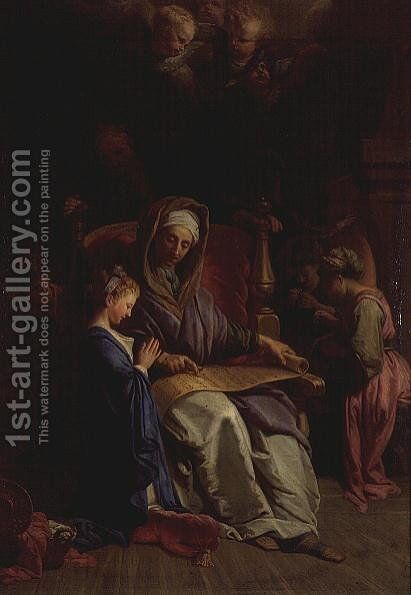 Saint Anne Reading the Virgins Scroll by Jean-baptiste Jouvenet - Reproduction Oil Painting