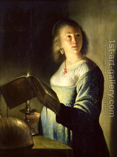 Young Woman with a Candle by Isaac de Jouderville - Reproduction Oil Painting