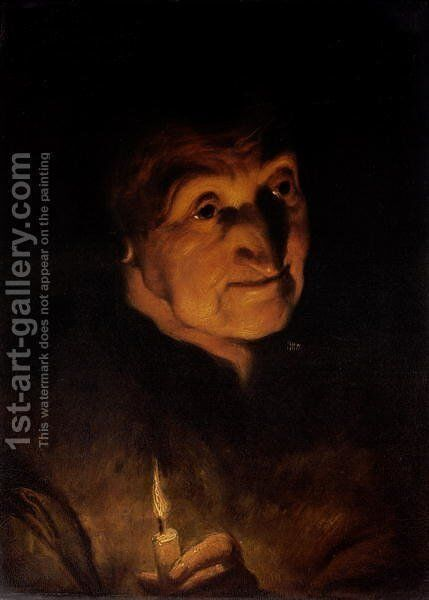 Study of an Old Woman holding a Candle by (attr. to) Jordaens, Jacob - Reproduction Oil Painting