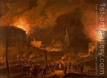 Louis Napoleon at the burning of Leiden by Jan Baptiste de Jonghe - Reproduction Oil Painting