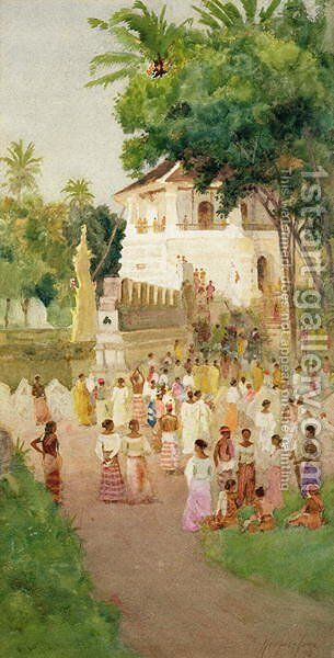 Crowds at a Monument in India by T. Hampson Jones - Reproduction Oil Painting