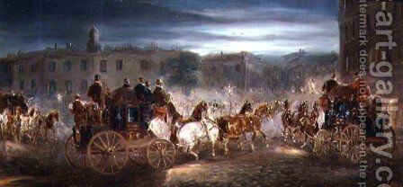 Evening Coaching Scene in a town by J.J. Jones - Reproduction Oil Painting