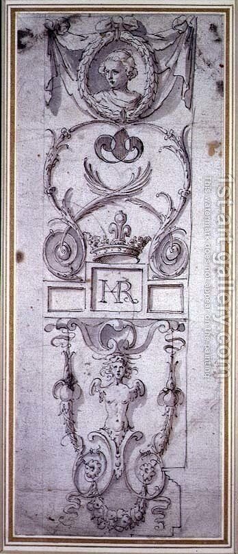 Design for a decorative panel by Inigo Jones - Reproduction Oil Painting