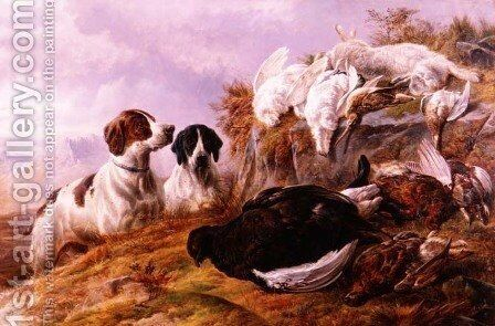 Pointers by the Days bag by Charles Jones - Reproduction Oil Painting