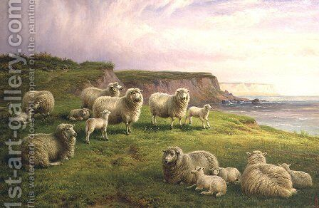 Sheep on a Dorset Coast by Charles Jones - Reproduction Oil Painting