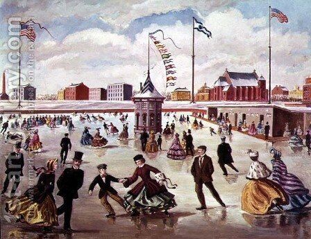 An American Ice Rink by Charles Jones - Reproduction Oil Painting