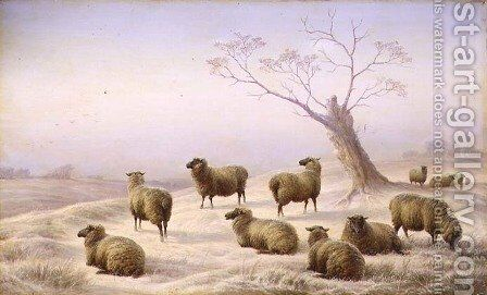 Sheep in Snow by Charles Jones - Reproduction Oil Painting