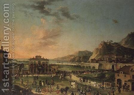 A capriccio panorama of the journey of Charles III King of the Two Sicilies by (attr. to) Joli, Antonio de dipi - Reproduction Oil Painting