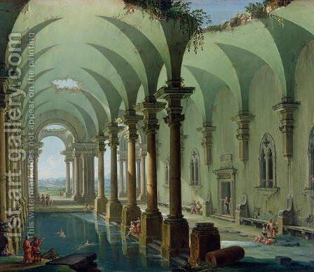 Architectural Fantasy by Antonio Joli - Reproduction Oil Painting