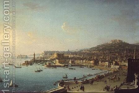 View of Naples with the Castel Nuovo by Antonio Joli - Reproduction Oil Painting
