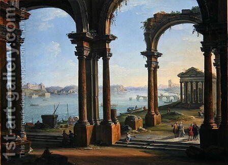 Harbour Scene through Ruined Arches by Antonio Joli - Reproduction Oil Painting