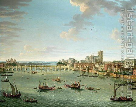 The Thames from the Terrace of Somerset House looking towards Westminster by Antonio Joli - Reproduction Oil Painting