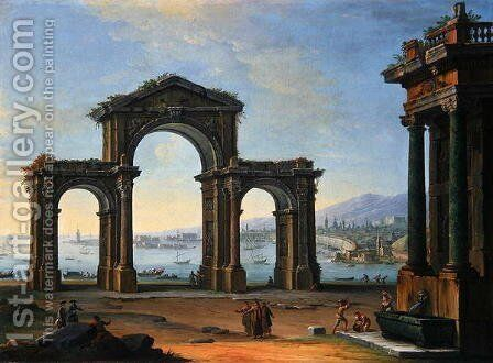 Harbour Scene with Triumphal Arch by Antonio Joli - Reproduction Oil Painting