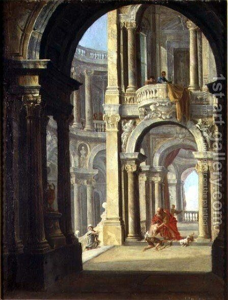 A Capriccio of a Baroque Palace with the Return of the Prodigal Son by Antonio Joli - Reproduction Oil Painting