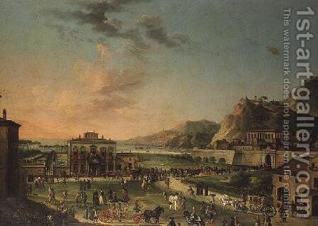 A capriccio panorama of the journey of Charles III King of the Two Sicilies by Antonio Joli - Reproduction Oil Painting